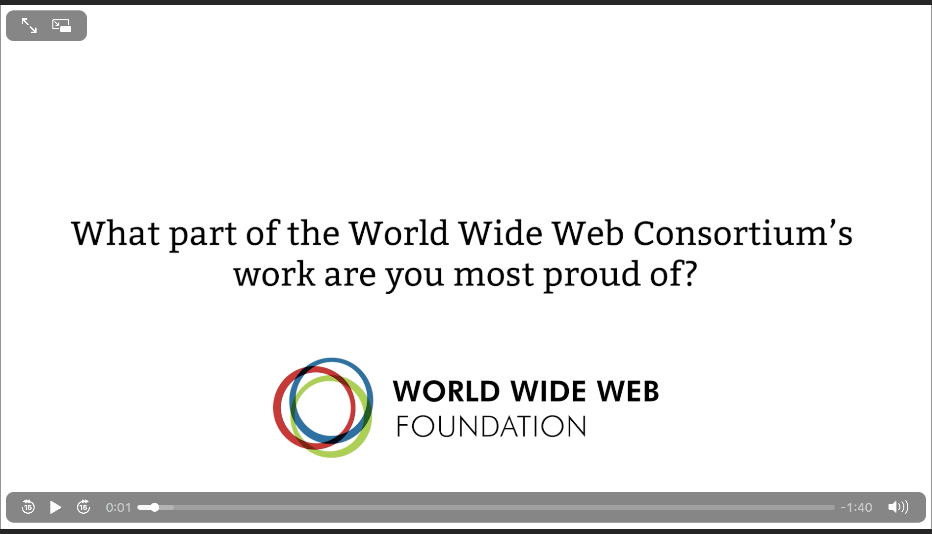 image links to the video of Tim Berners-Lee speaking for Web30