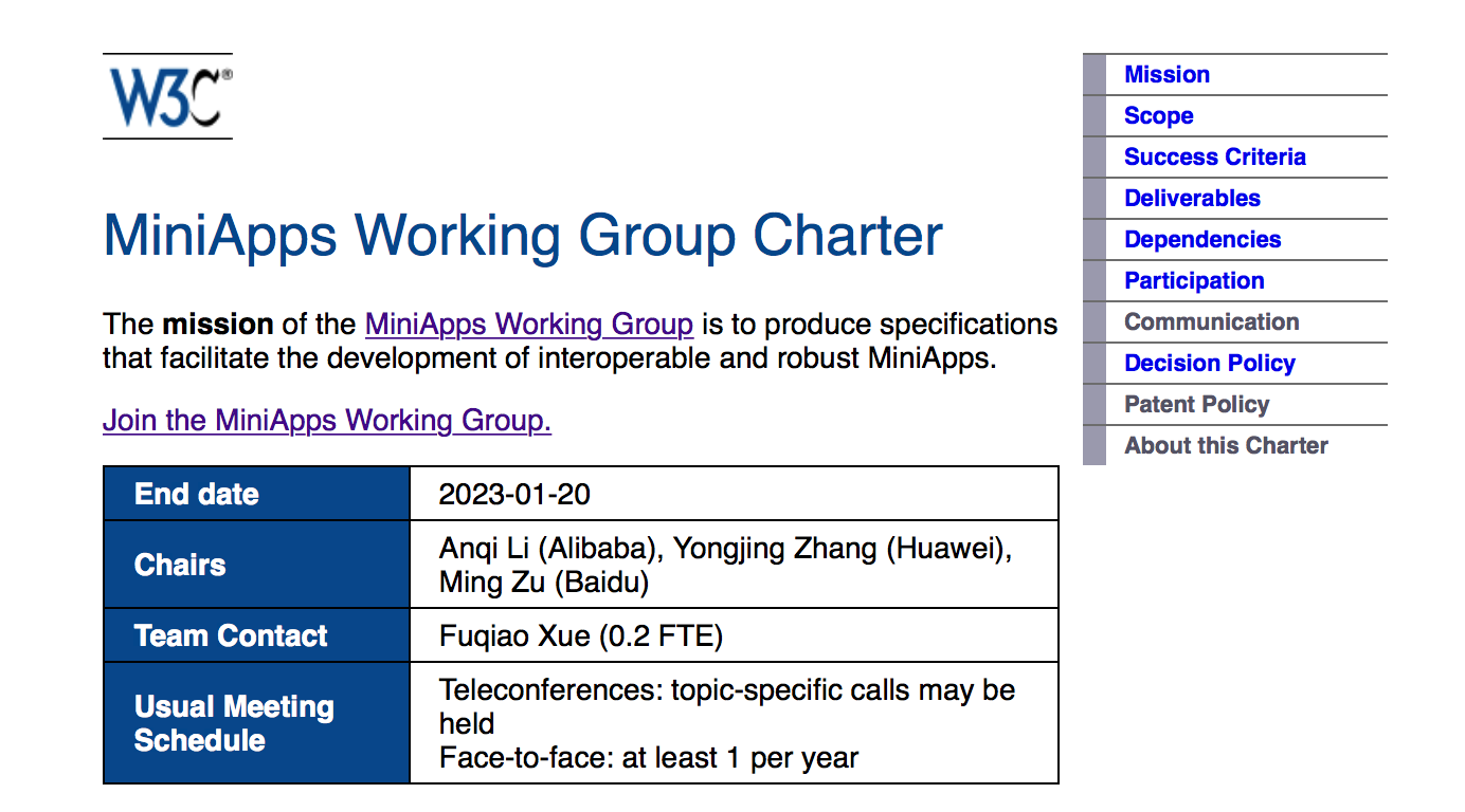 screenshot of MiniApps Working Group Charter